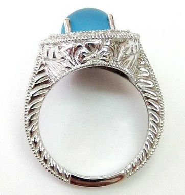 Custom Made 6.55ct Frosted Blue Topaz Ring With Diamonds - 14k White Gold