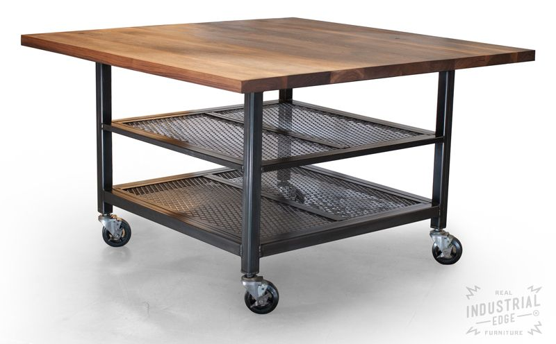 Hand Crafted Custom Walnut Steel Kitchen Island Metal