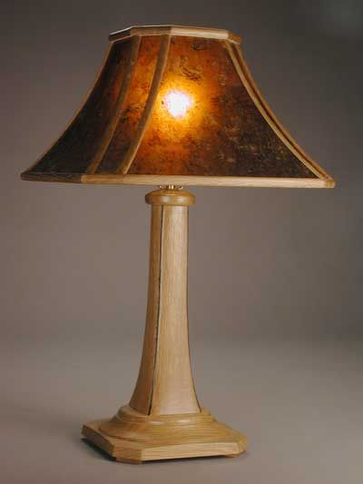 Custom Made Aurora Arts And Crafts Table Lamp With Wood Framed Mica Shade