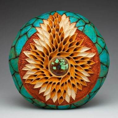 "Custom Made Decorative Vessel ""Swirling Leaves"""
