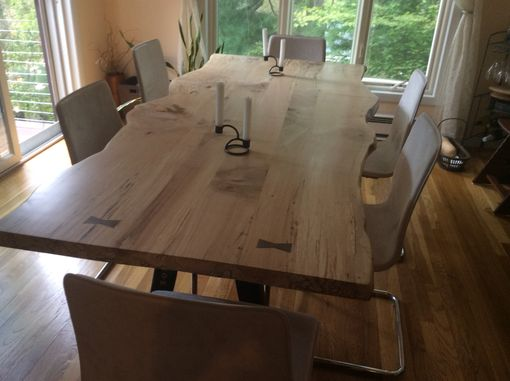 Custom Made Live Edge Dining Table, Local Spalted Hard Maple