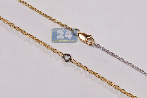 Custom Made 18k Two Tone Gold 0.54 Ct Diamond Womens Necklace 29 1/4 Inches
