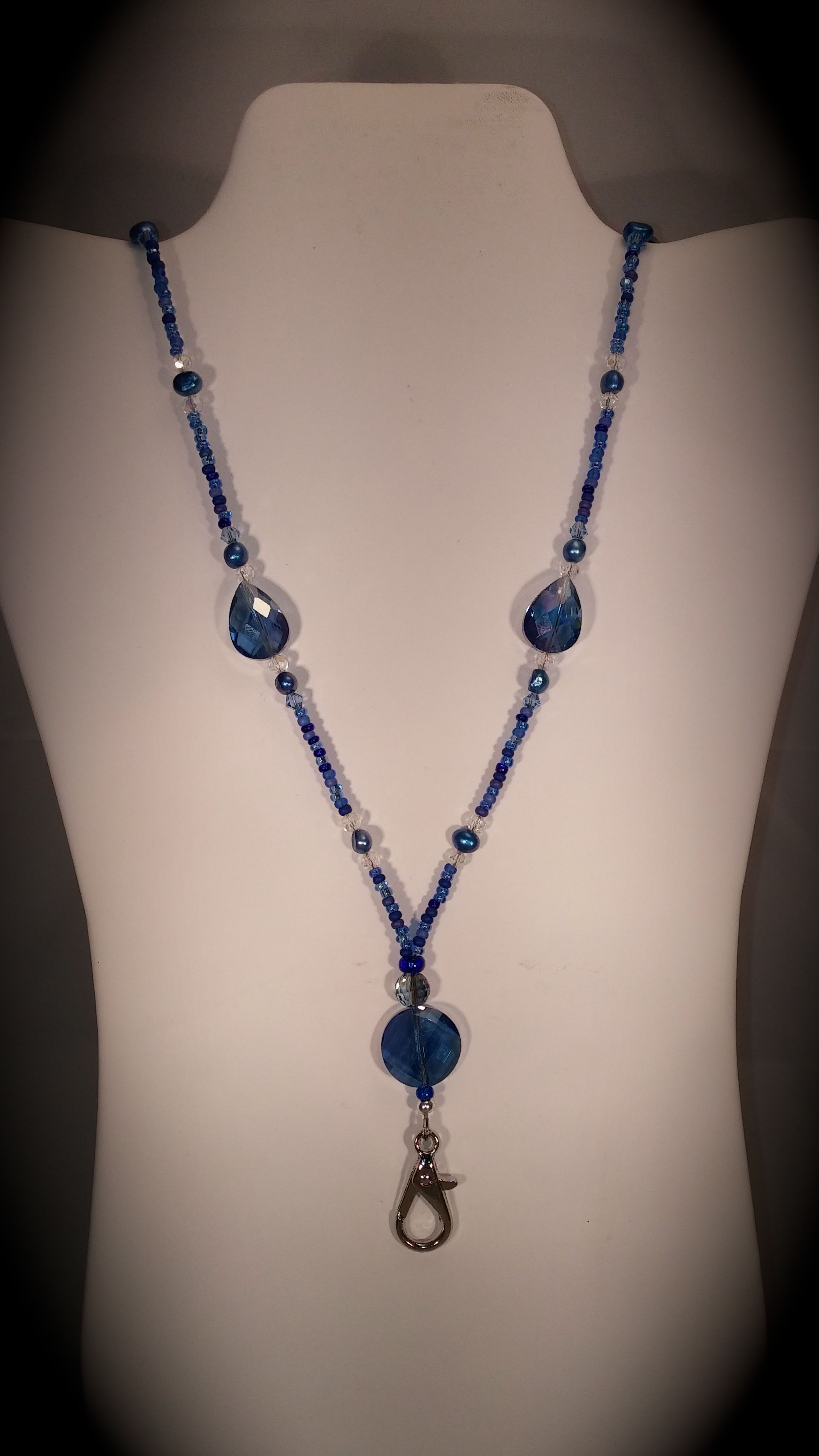 Buy A Custom Brilliant Blue Beaded Lanyard With Magnetic