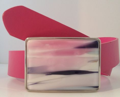 Custom Made Pink, White And Black Fused Glass Belt Buckle