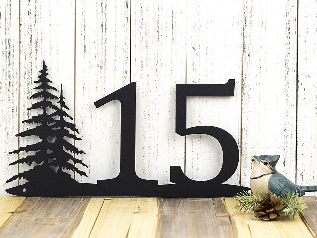 Custom Made Rustic House Number Pine Trees Metal Sign Numbers Address