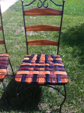 Hand Made Kitchen Chair Set With Woven Leather Recycled