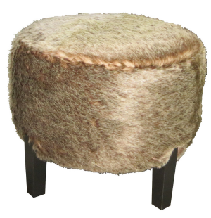 Custom Made Faux Fur Round Ottoman Seat