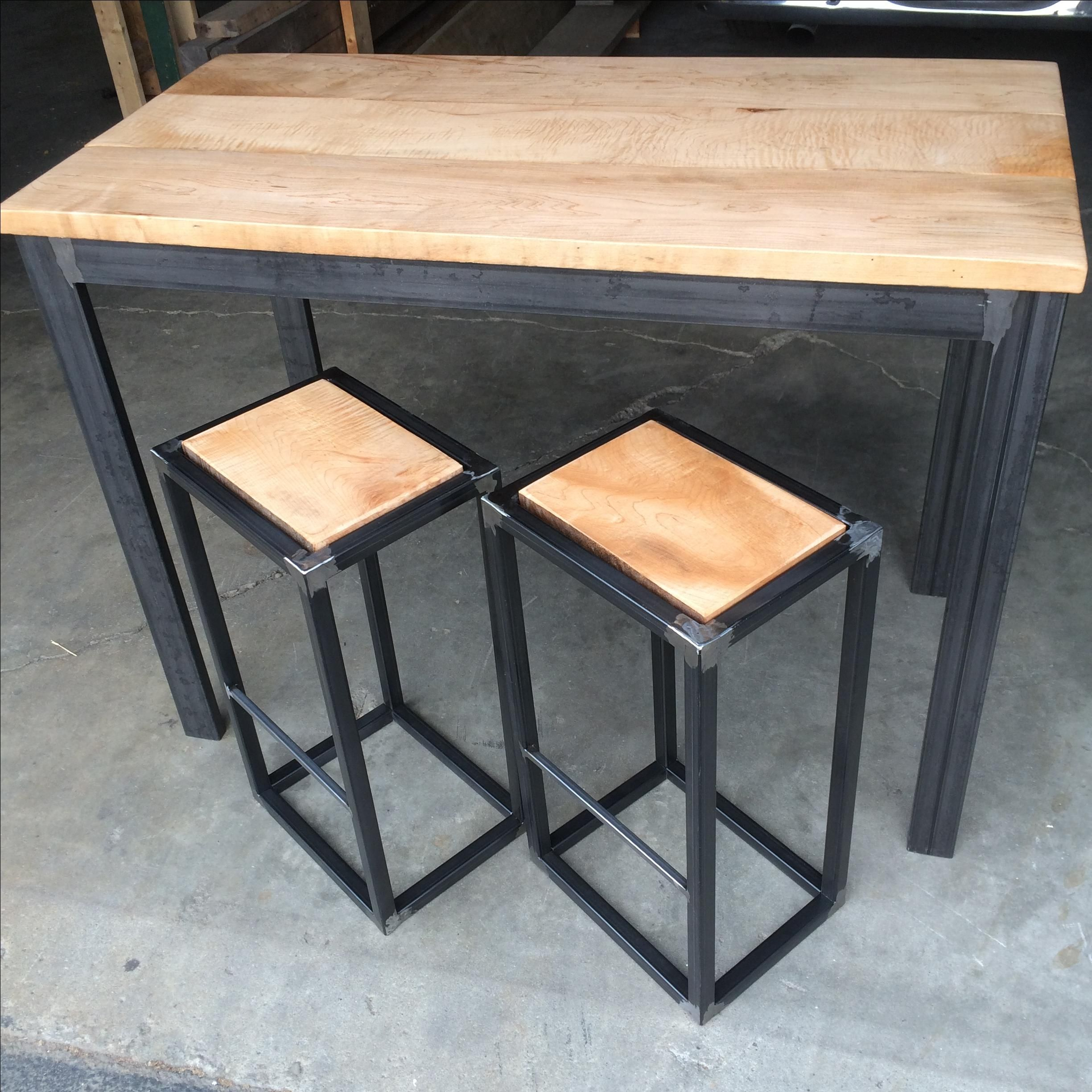 Custom modern industrial small two or four person dining for Small 4 person dining table