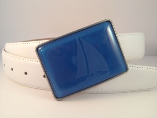 Custom Made Boaters Fused Glass Belt Buckle