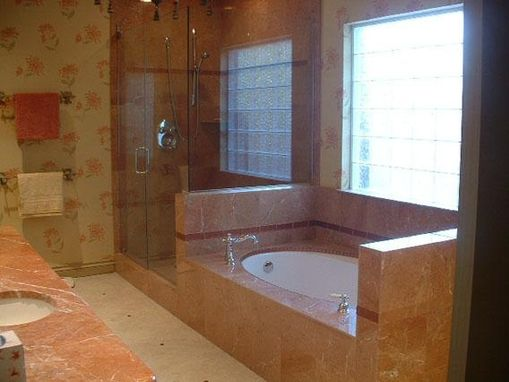 Custom Made Red Stone Shower And Tub Surround