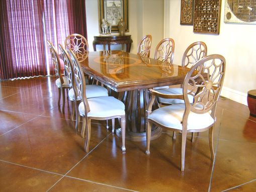 Custom Made Mahogany Dining Table With Teak Inlay By