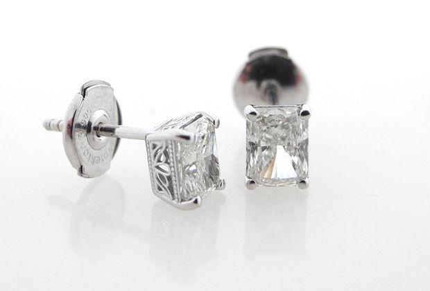 Custom Made Radiant Cut Diamond Stud Earrings