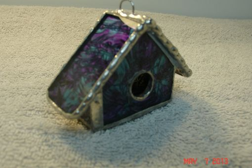 Custom Made Empty Nest Bird House Ornament In Textured Clear And Violet / Blue Green Roof