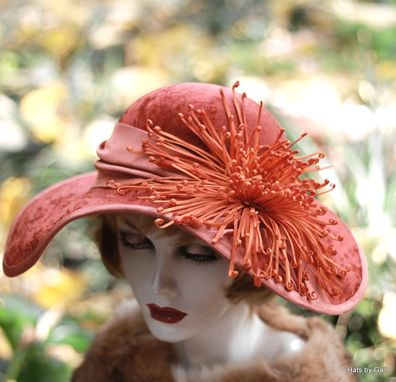 Custom Made Vintage Edwardian 1900s Hat Velvet Wide Brim Large Flowered